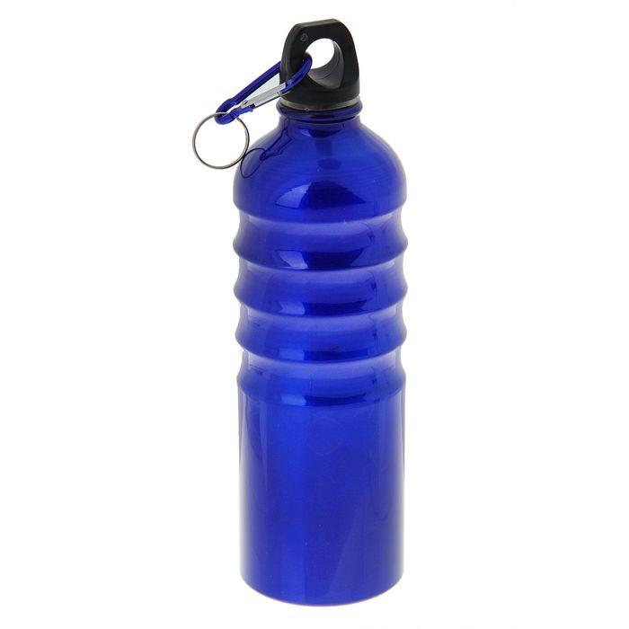 Фляжка туристическая «Насечки» с карабином, 750 мл, синяя, МИКС
