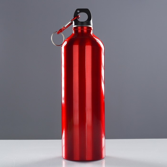 Фляжка туристическая «Классика» с карабином, 750 мл, красная