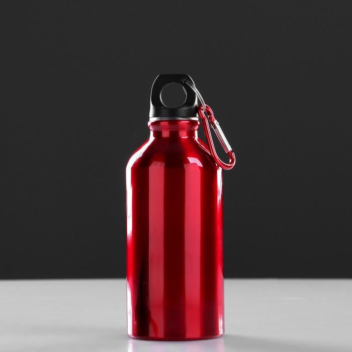 Фляжка туристическая «Классика» с карабином, 400 мл, красная