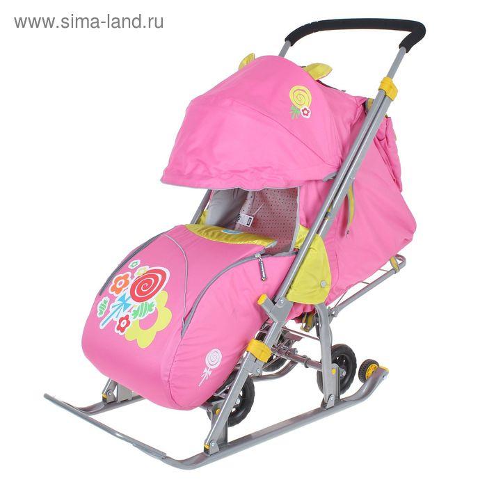 """Санки-коляска """"Ника детям 7 - леденец"""" с выдвижными колёсами, цвет розовый"""