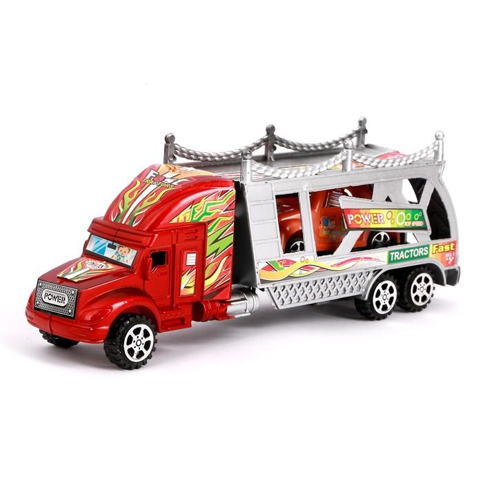 Грузовик инерционный «Автовоз», с машинкой, цвета МИКС - фото 105657984