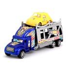 Грузовик инерционный «Автовоз», с машинкой, цвета МИКС - фото 105657989