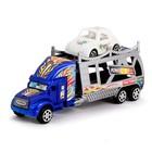 Грузовик инерционный «Автовоз», с машинкой, цвета МИКС - фото 105657991