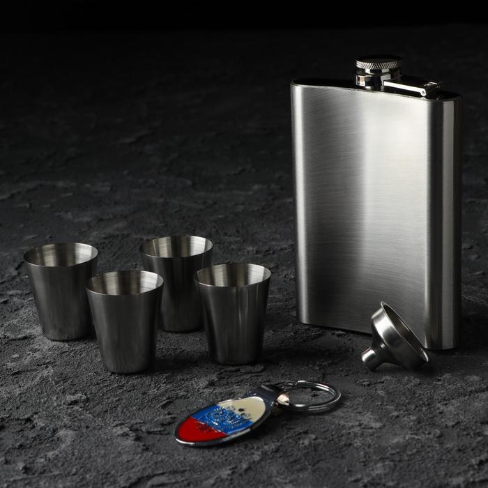 Gift set 7 in 1 Metal: hip flask 240 ml + 4 shot glasses, funnel, knife multifunction