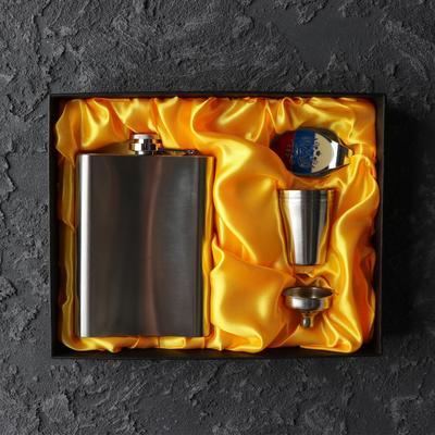 """Подарочный набор 7 в 1 """"Металл"""": фляжка 240 мл + 4 рюмки, воронка, нож многофункциональный"""