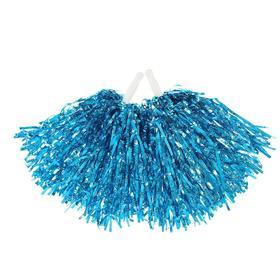 Ruffled POM-poms, 2 piece set, blue