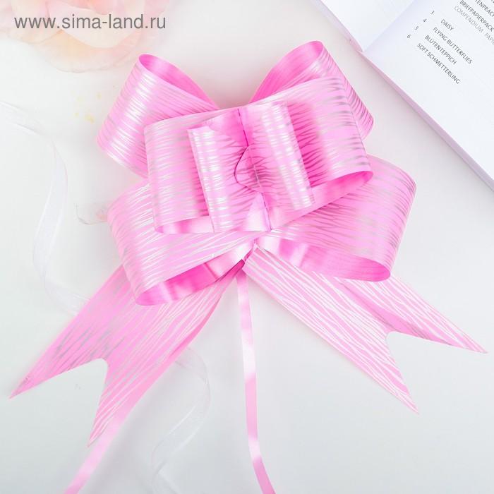 """Бант-бабочка №5 """"Линии"""", цвет розовый"""
