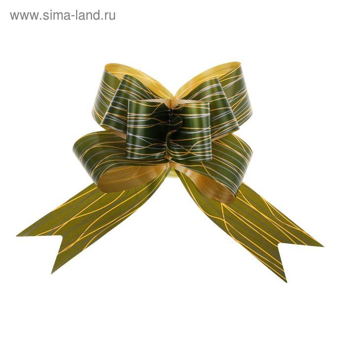 "Бант-бабочка №5 ""Линии"", цвет зелёный"