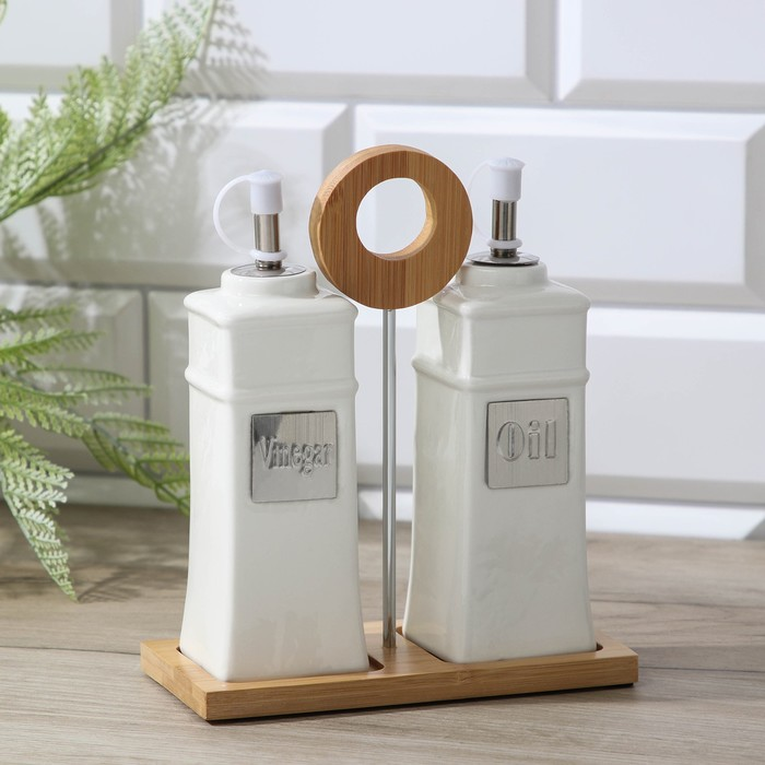 "Set to sauces and oils on a wooden stand 220 ml ""Estet"", 2 items"