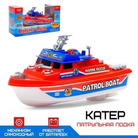 Катер 'Патрульная лодка', работает от батареек, цвета МИКС. Ош