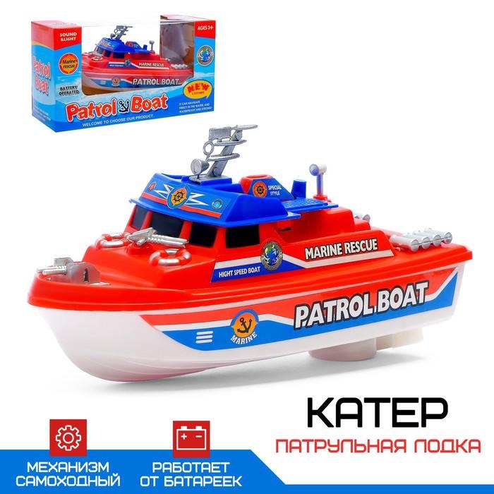 Катер «Патрульная лодка», работает от батареек, цвета МИКС.