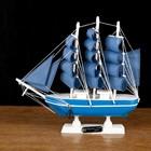 Корабль сувенирный малый «Трёхмачтовый», борта голубые с полосой, паруса голубые, 23,5 × 4,5 × 23 см