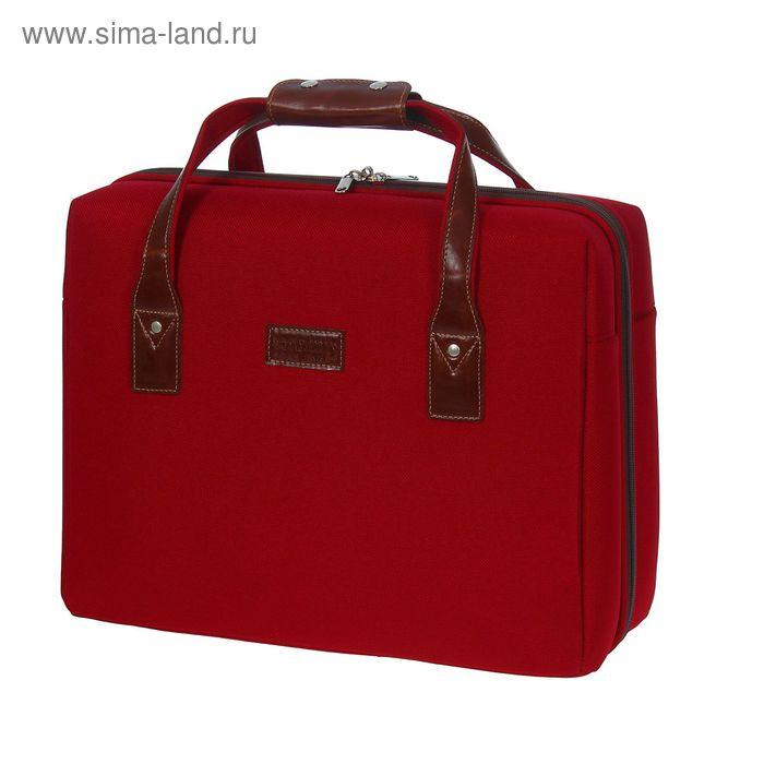 Пилот-кейс на молнии, 1 отдел, накладка на задней стенке на ручку чемодана, красный