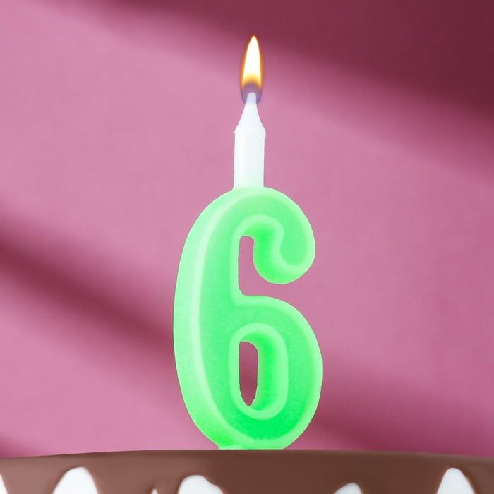 "Свеча для торта цифра ""Классика"" ""6"" зелёная - фото 1706263"