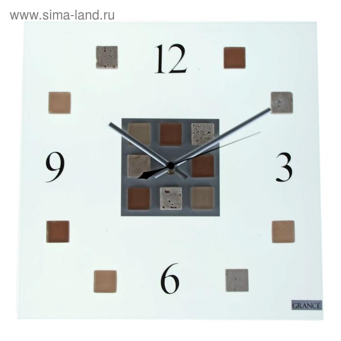 """Часы настенные интерьерные стеклянные """"Grance"""" песочные квадраты, арабские цифры"""