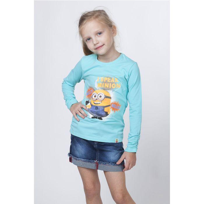 Джемпер для девочки «Миньоны» цвет ментол, рост 128 см