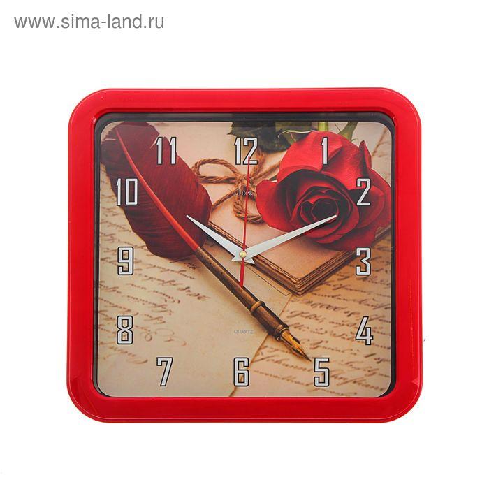 """Часы настенные квадратные """"Роза и перо"""", 30х30 см"""