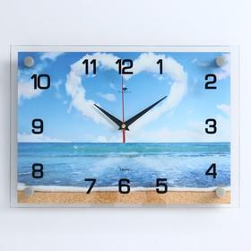 """Часы настенные, серия: Море, """"Сердце из облаков"""" 25х35  см, микс"""
