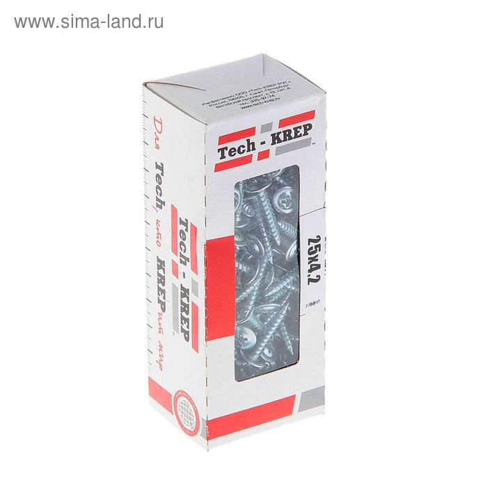Саморезы с прессшайбой TECH-KREP, ШСММ, 4.2х25 мм, острый, 200 шт.