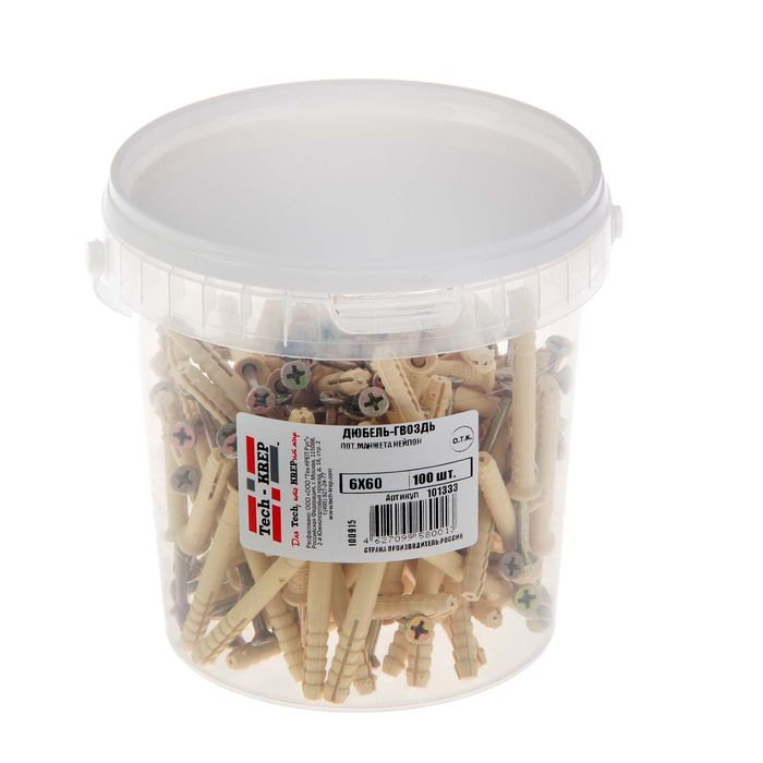 The expansion bolt shield nail 6K60, a secret cuff, nylon, in a bucket of 100 pieces.