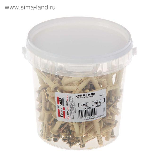Дюбель-гвоздь 6L40, грибовидная манжета, нейлон, в ведре 150 шт.