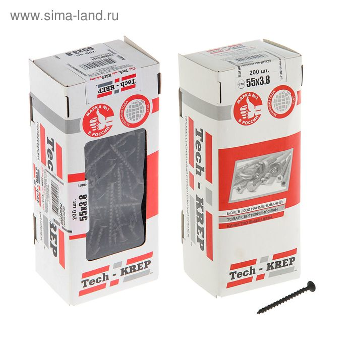 Саморезы по дереву TECH-KREP, ШСГД, 3.8х55 мм, оксид, крупный шаг, 200 шт.