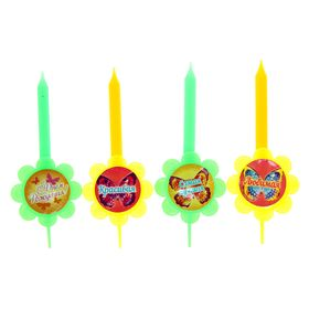 """A set of candles in the cake """"The best"""" 4 PCs."""