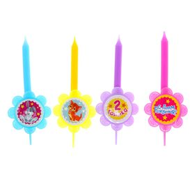 """A set of candles in a cake """"2 years old"""" 4 PCs."""