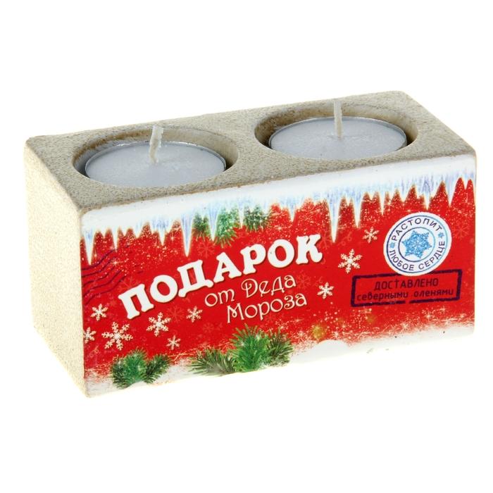 "Подсвечник на 2 свечи ""Подарок от Деда Мороза"""