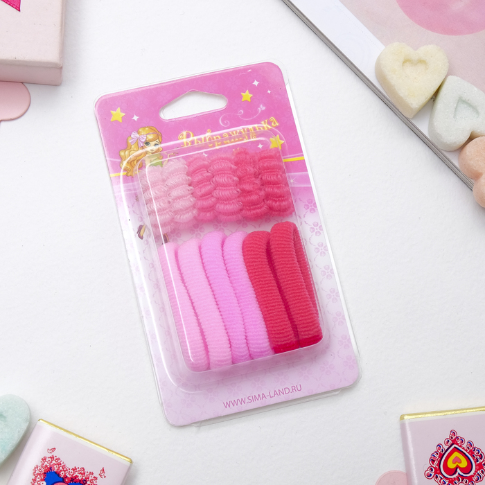 "Hair bands ""Makhrushka"" (set 12 PCs), pink"