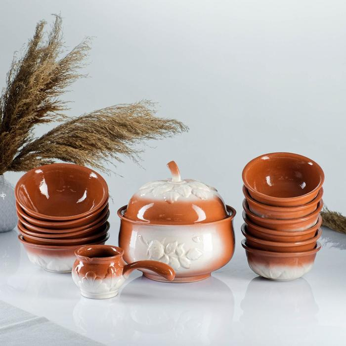 """Набор посуды """"Луговой"""" 14 предметов: супник, кокотница, 3 л/ 0,6 л/ 0,4 л/ 0,3 л"""