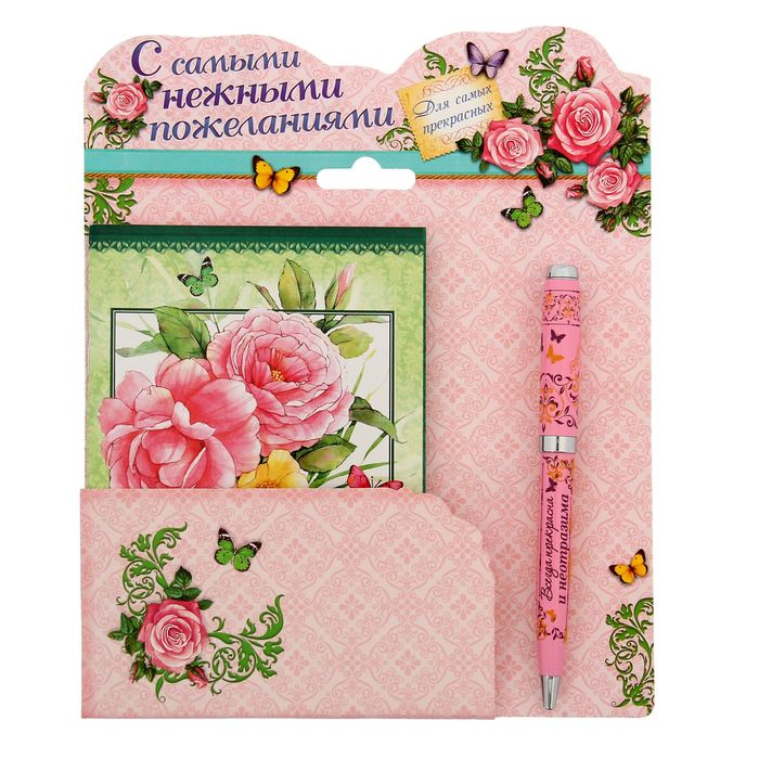 """Подарочный набор """"Любимой доченьке"""": блокнот-открытка, А6,32 листа и ручка"""