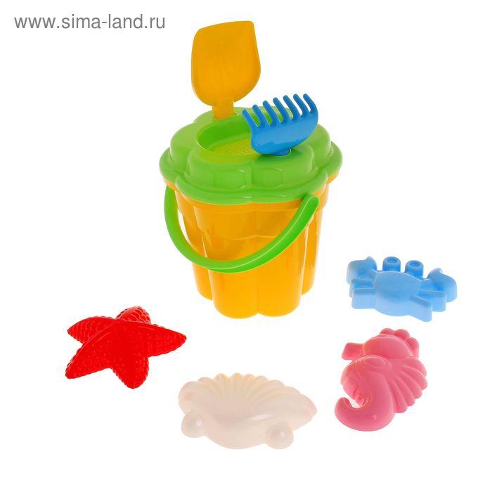 Песочный набор №362 (ведро, ситечко, лопатка, грабельки, 4 формочки) цвета МИКС