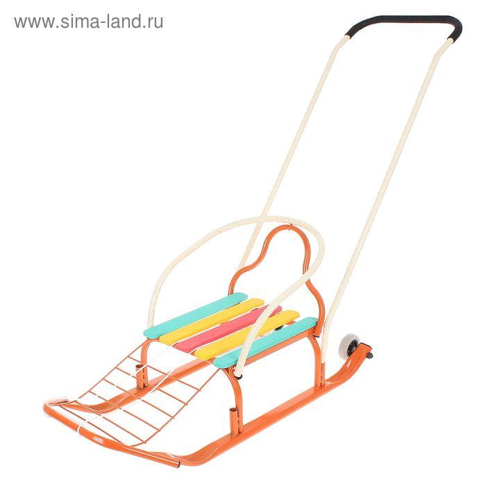 """Санки """"Кирюша-4швк"""" с толкателем, с колёсиками, цвет оранжевый"""