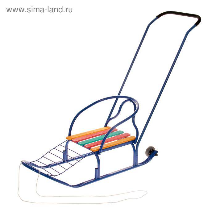"Санки ""Кирюша-4вк"" с толкателем, с колёсиками, цвет синий"
