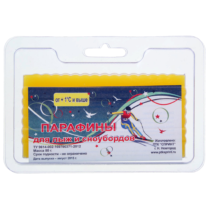 Ski paraffin yellow, t ° C (+ 1 ° C and above), weight 80g.