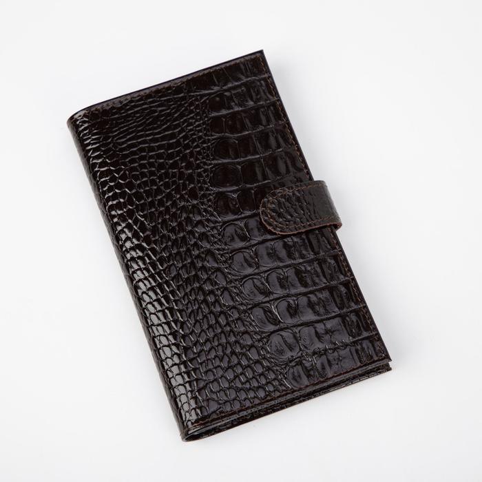 Визитница на кнопке, 3 ряда, 24 листа, кайман, цвет коричневый - фото 64505
