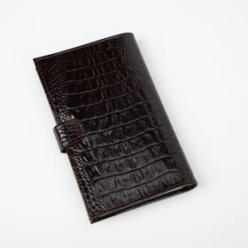 Визитница на кнопке, 3 ряда, 24 листа, кайман, цвет коричневый - фото 64506