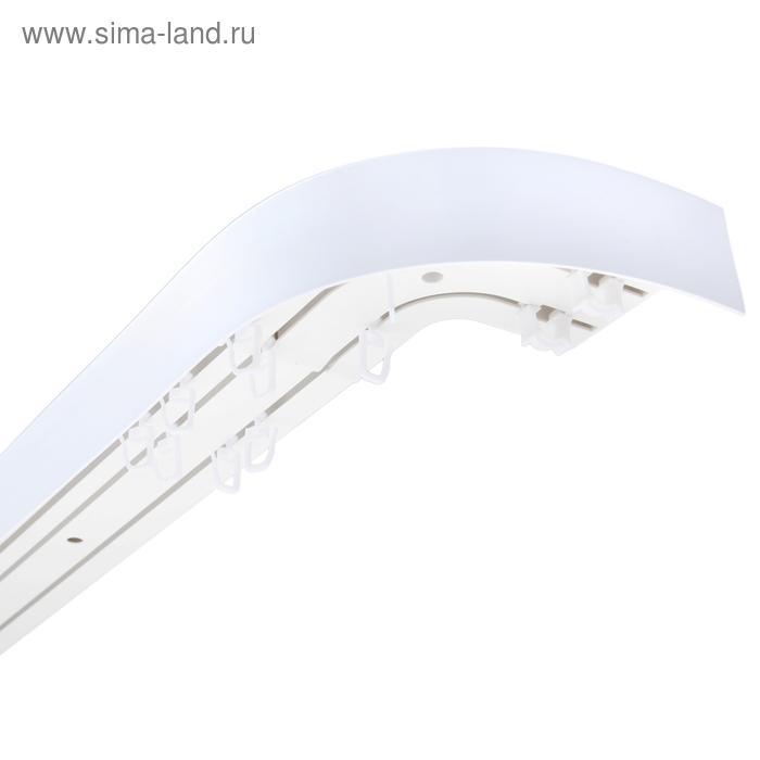 """Карниз с пластиковой декоративной планкой """"Ультракомпакт"""", 3 ряда, цвет белый, 200 см"""