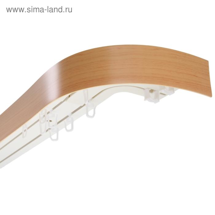"""Карниз с пластиковой декоративной планкой """"Ультракомпакт"""", 3 ряда, цвет бук, 240 см"""