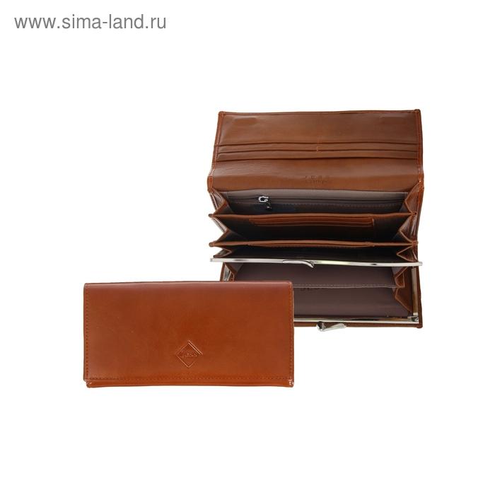 Кошёлек женский на клапане, 3 отдела, 2 отдела на рамке, отдел для кредиток, глянцевый, коричневый