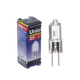 Лампа галогенная Uniel, G4, 35 Вт, 12 В, прозрачная