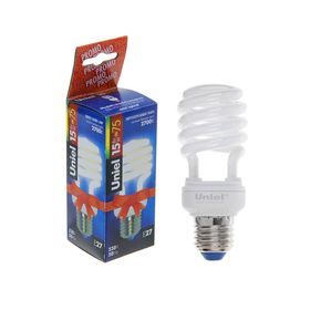 Лампа энергосберегающая Uniel, Е27, 15 Вт, свет тёплый белый