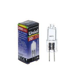 Лампа галогенная Uniel, G4, 20 Вт, 12 В, прозрачная