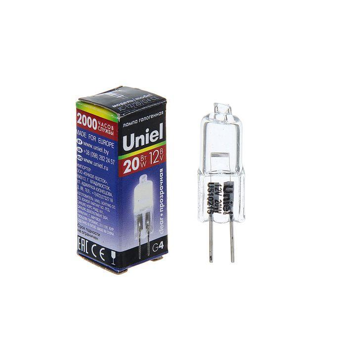 Halogen lamp Uniel, G4, 20 W, 12 V, transparent.