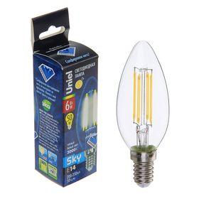 Лампа светодиодная Uniel, Е14, 6 Вт, свет тёплый белый