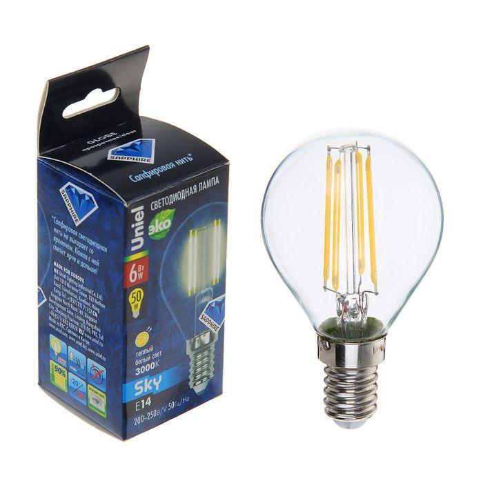 LED lamp Uniel, G45, 6 W, E14, 3000 K, warm white light.