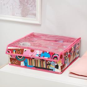 Органайзер для белья с крышкой «Модница», 16 ячеек, 32×32×10 см, цвет розовый