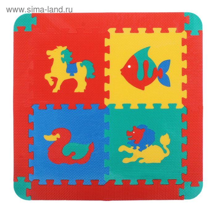 Мягкий развивающий коврик с животными, 4 элемента