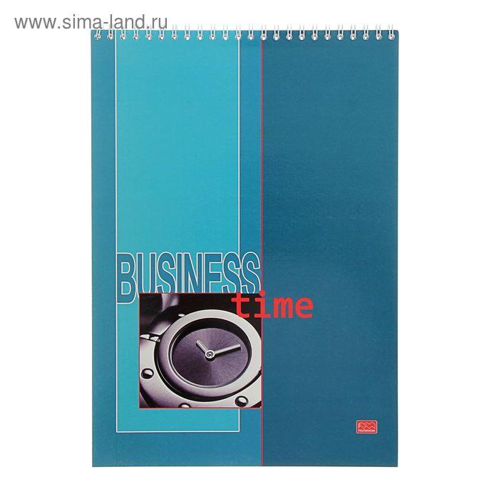 Блокнот А4, 80 листов на гребне Business Time, жесткая подложка, МИКС